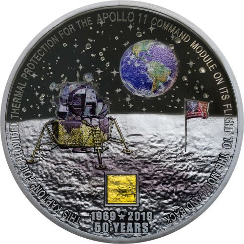 MOON LANDING Apollo 11 50th Ann. 3 Oz Silver Coin Cook Islands 2019