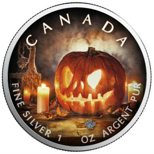 HALLOWEEN Pumpkin - Maple Leaf 1 oz Pure Silver Coin - Canada 2018