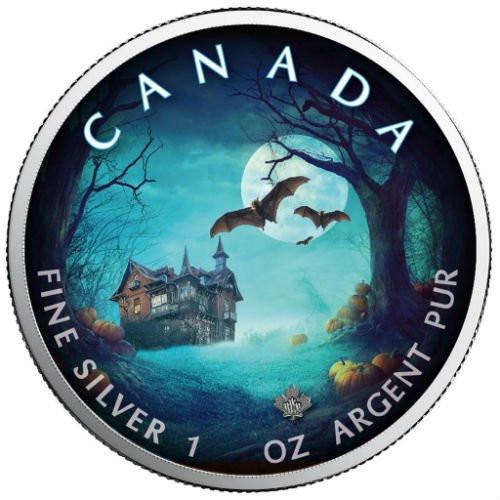 HALLOWEEN Bats - Maple Leaf 1 oz Pure Silver Coin - Canada 2018