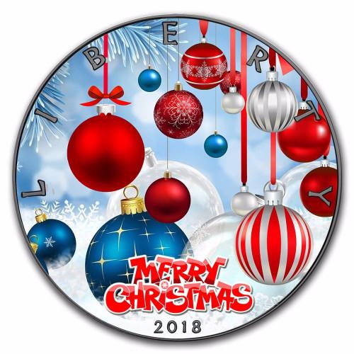 CHRISTMAS Ornaments Walking Liberty 1 oz Silver Ruthenium Coin 2018