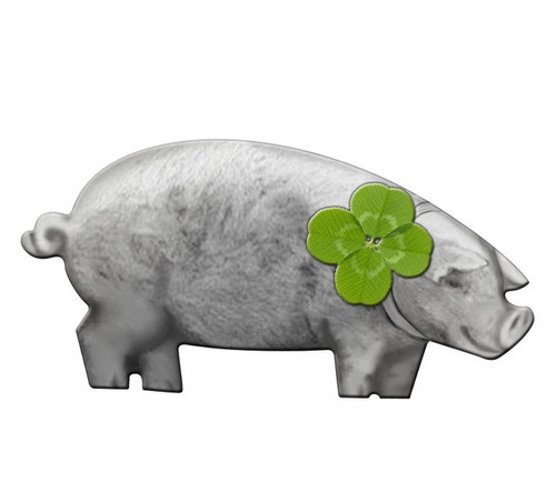 Shamrock PIG Unique shaped Silver Coin Niue 2017