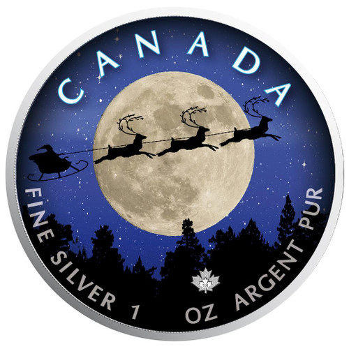 Christmas NIght - Maple Leaf 1 oz Pure Silver Coin - Canada 2018