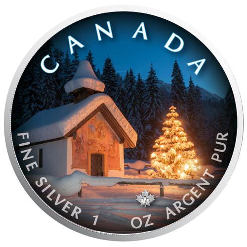 Silent NIght - Maple Leaf 1 oz Pure Silver Coin - Canada 2018