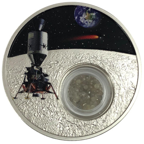 50th Ann. of the Moon Landing 1 Oz Silver -  50th Ann. of the Moon Landing 1 Oz Silver - Proof - Locket w/Diamonds Coin Niue 2018