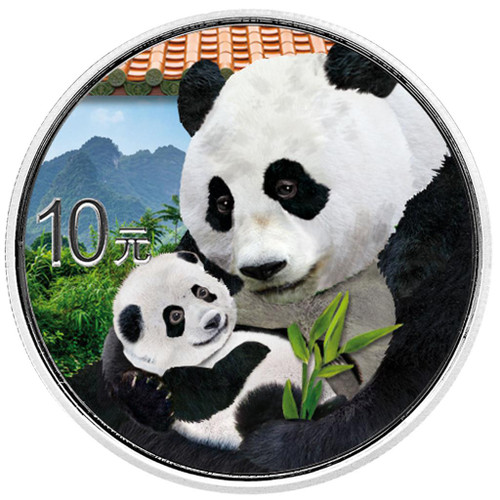 PANDA Day Colorized Silver Coin 10 Yuan China 2019