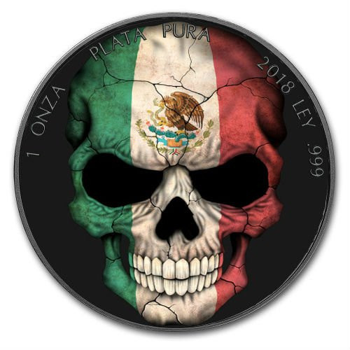 FLAG SKULL LIBERTAD Ruthenium & 24K Gold PL 1 oz Silver Coin MEXICO 2018