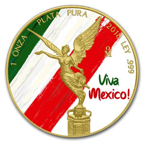 VIVA MEXICO LIBERTAD 24K Gold PLated 1 oz Silver Coin MEXICO 2018