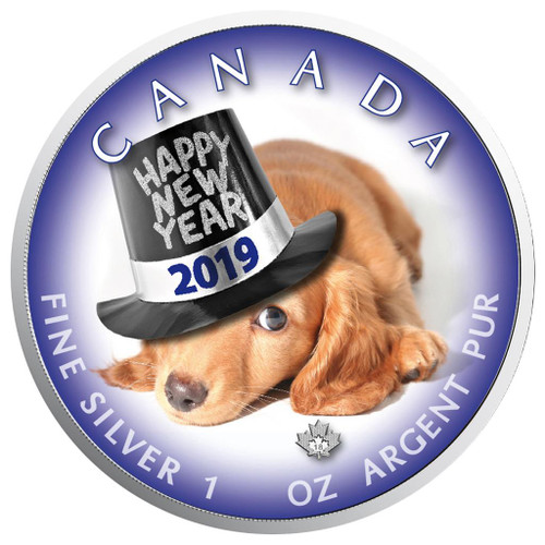 Sweet Puppy - Maple Leaf 1 oz Pure Silver Coin - Canada 2019