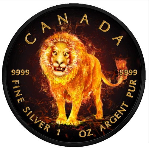 LION Burning Animals 1 Oz Silver Coin 5$ Canada 2018