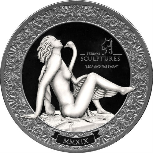 LEDA AND SWAN Eternal Sculptures 2 Oz Silver Coin 10$ Palau