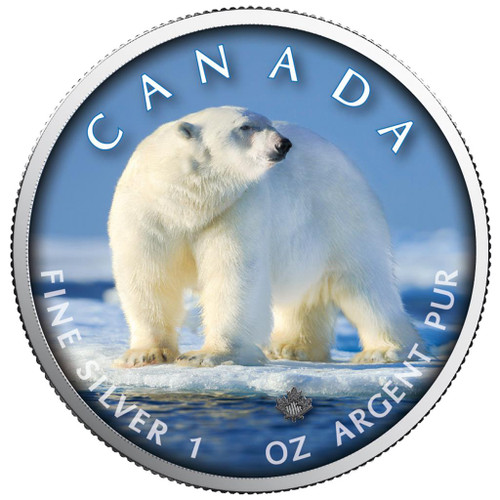 MAPLE LEAF - POLAR BEAR - 1 Oz Silver Coin 5$ Canada 2019