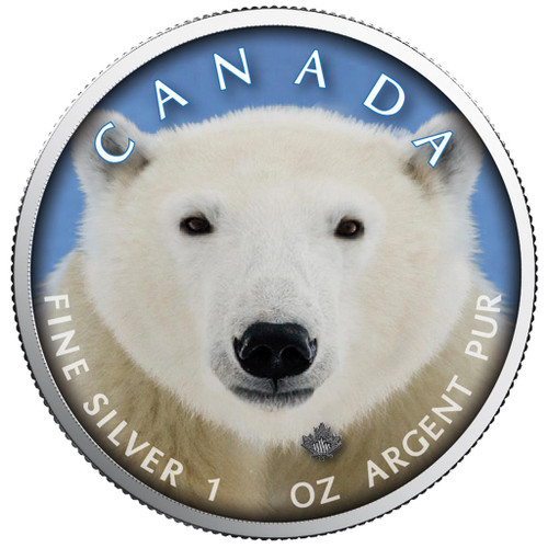 MAPLE LEAF - POLAR BEAR Canada's Wildlife 1 Oz Silver Coin 5$ 2019