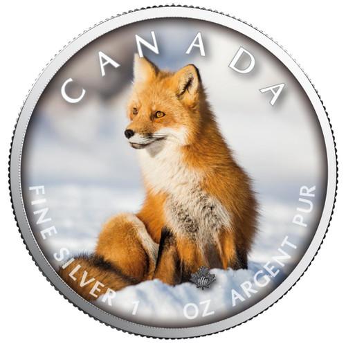 MAPLE LEAF - RED FOX - 1 Oz Silver Coin 5$ Canada 2019