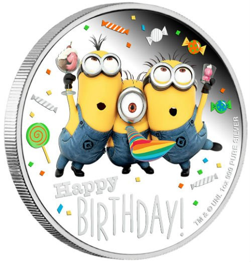 HAPPY BIRTHDAY Minion Made 1 Oz Silver Coin 2$ Niue 2019