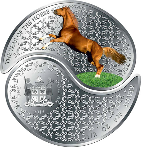 Year of the Horse - Yin & Yang Silver Proof coin - 2 x $1 Fiji 2014