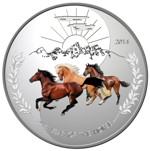 Tokelau 2014 Proof Silver 1 oz. Three Horses YING YANG