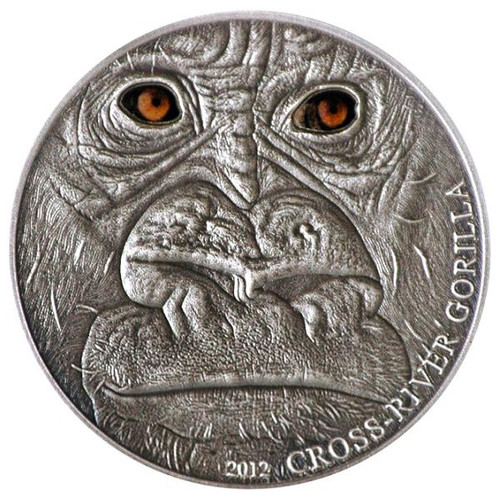 CROSS RIVER GORILLA 1 Oz Silver Coin 1000 Fr. Cameroon 2012