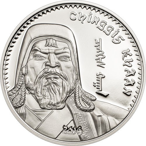 Mongolia 2014 1000 Togrog Chinggis Khaan 1oz  Silver Proof Coin