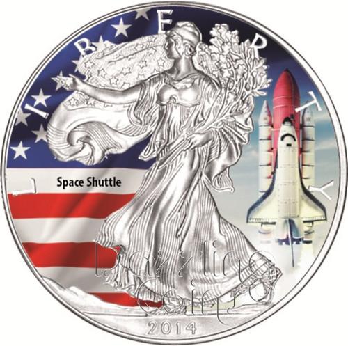 2014 1 oz Silver American Eagle Color America`s Landmarks Series-Space Shuttle