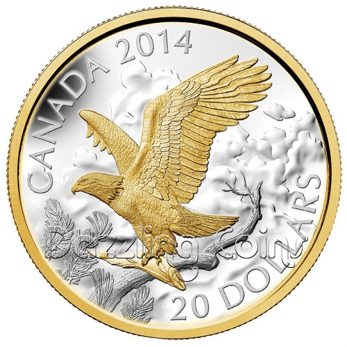 $20 1 oz .9999 Silver Gold-Plated Coin - Perched Bald Eagle Canada 2014