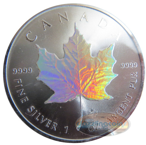 2014 1 oz Silver Coin - Maple Leaf Holographic Effect