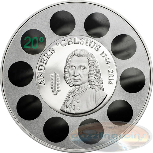 ANDERS CELSIUS 2014 Cook 5$ 1 Oz Ø 50mm Silver Coin w/Thermometer