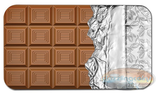 Cook Islands 2014 - Milk Chocolate Candy Bar $5 Pure Silver w/Color - Aroma