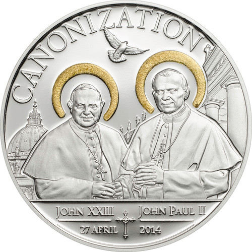 Tanzania 2014 Canonization of John Paul II 1000 Sh. Silver Proof Coin Gilded