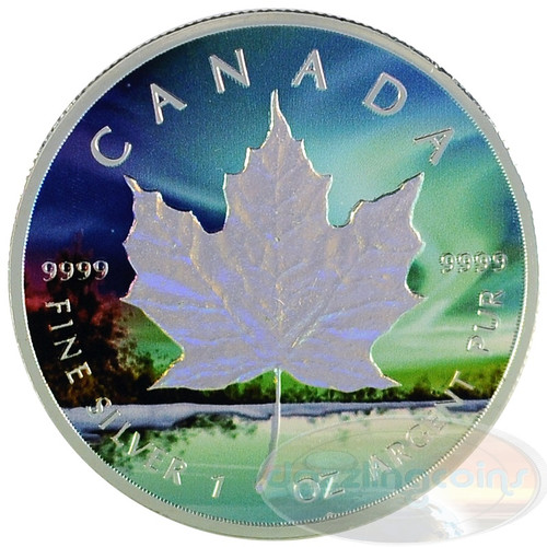 1 oz Maple Leaf Northern Lights Hologram~Silver 99.99% $5 CA 2014