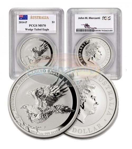 2014-P Australia PCGS MS 70 Wedge Tailed Eagle COA Mercanti Signed