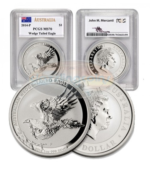 2014 Australia 1 Oz Wedge Tailed Silver Eagle Pcgs Ms 70