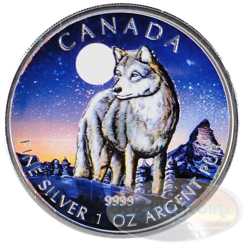 2011 Wolf - Canada Color Wildlife Series 1 oz. Silver .9999