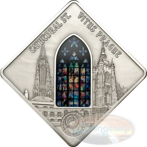St. Vitus Cathedral - Holy Windows Silver Coin 10$ Palau 2013