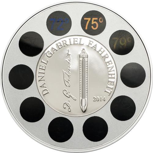 Daniel Gabriel Fahrenheit 2014 Cook 5$ 1 Oz Ø 50mm Silver Coin w/Thermometer