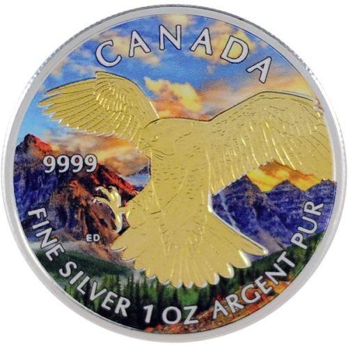 1 OZ Birds of Prey 2014 - Peregrine Falcon Gilded/Color CA Series .9999