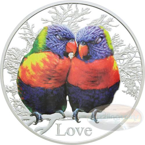 2015 Tokelau Rainbow Lorikeets  1 oz  Silver Color Proof Coin