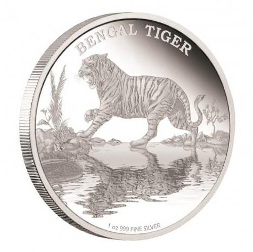 2015 Bengal Tiger - Endangered Species Niue $2 1 oz Silver Coin