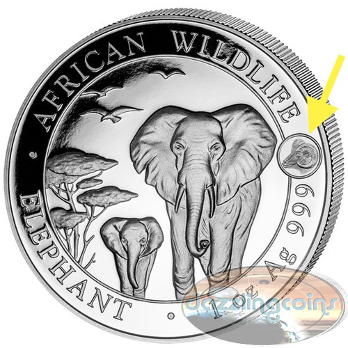 2015 Somalia~ African ELEPHANT Year of Goat~Privy Mark 1oz Silver Coin