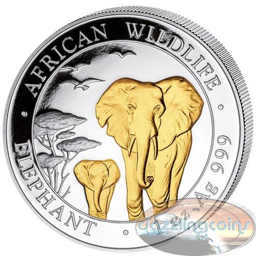 2015 Somalia~ African ELEPHANT GILDED 1oz Silver Coin