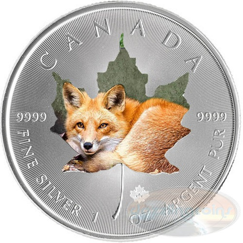 1 oz Maple Leaf RED FOX Theme ~ Silver .9999 $5 Canada 2015