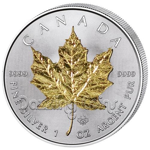 2015 1 oz. Silver Maple Leaf Gilded