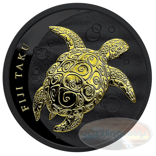 TAKU TURTLE Hawksbill Black Ruthenium Gold 1 Oz Silver Coin 2$ Fiji 2013
