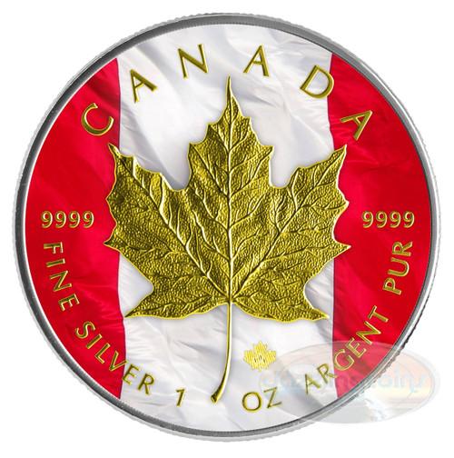 "2014 1 oz $5 Silver Coin - Canadian ""Patriotic Maple Leaf Flag"" Color/24K Gold Finish"