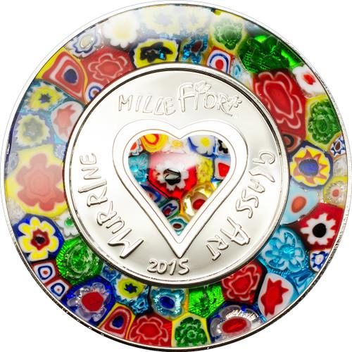 Murrine Millefiori Glass Art Silver Coin $5 Cook Islands 2015