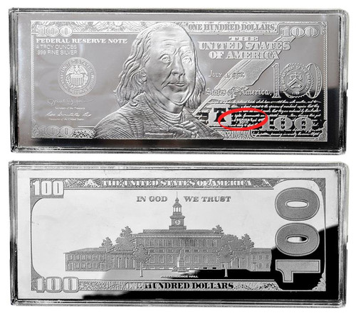 $100 Silver Franklin 4 oz Bars USA 2016