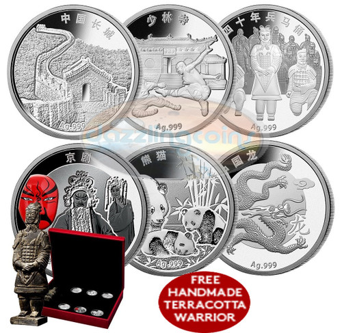 Discover China 2015 6 of 999 Silver coins Set with Terracotta Warrior