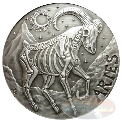 2015  ARIES ZODIAC  MEMENTO MORI Rimless HR Antique Silver 1oz