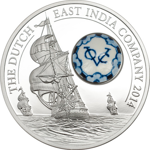 Royal Delft Dutch East India Co. Silver Coin 10$ Cook Is. 2014