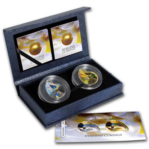 2x Silver Oyster IV Hologram Hyriopsis Cumingii Proof Palau 2014