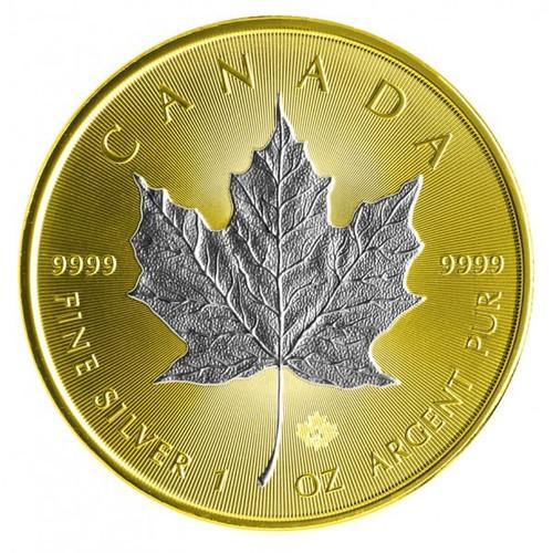 2013 1 oz Silver Maple Leaf  Reverse Gilded - 24K Gold